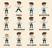 Businessman cartoon character emotions set isolated vector illustration