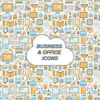 Business and office icons seamless pattern vector illustration