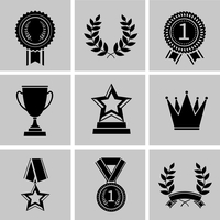 Award icons black set of crown star laurel wreath isolated vector illustration