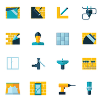 Home repair diy renovation housework icons set flat isolated vector illustration