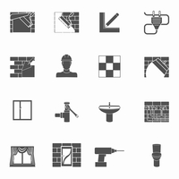Home repair renovation and construction tools black icons set isolated vector illustration