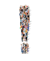 Group crowd of people in exclamation mark shape poster vector illustration