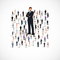 Group of people adult professionals business team with huge figure of young man vector illustration