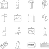 Museum art exhibition icons outline set isolated vector illustration
