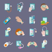 Mobile health online pharmacy computer diagnostics icons flat set isolated vector illustration 60016003530| 写真素材・ストックフォト・画像・イラスト素材|アマナイメージズ