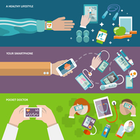 Digital health healthy lifestyle smartphone pocket doctor banner set isolated vector illustration
