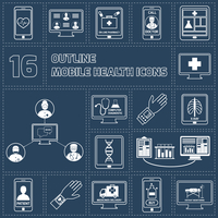 Mobile health online pharmacy computer diagnostics icons outline set isolated vector illustration
