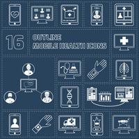 Mobile health online pharmacy computer diagnostics icons outline set isolated vector illustration 60016003548| 写真素材・ストックフォト・画像・イラスト素材|アマナイメージズ