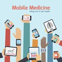 Mobile health concept with human hands holding gadgets vector illustration 60016003550| 写真素材・ストックフォト・画像・イラスト素材|アマナイメージズ