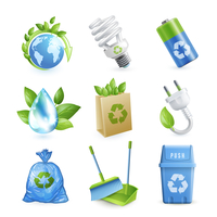 Ecology and waste colored icons set of globe paper bag plug isolated vector illustration.