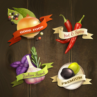 Realistic herbs and spices food decorative kitchen ribbon badges set on wooden background vector illustration