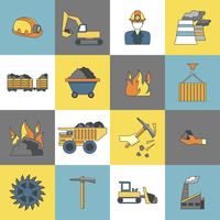 Coal machinery factory mining machinery flat line icons set isolated vector illustration