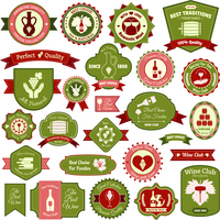 Wine alcohol drink label emblems and ribbons flat colored set of isolated vector illustration 60016003679| 写真素材・ストックフォト・画像・イラスト素材|アマナイメージズ