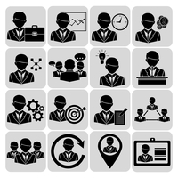 Business and management icons black set with company team avatars isolated vector illustration