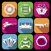 Space computer game elements collection white icons set isolated vector illustration