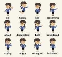 Business woman cartoon character happy and sad emotions set isolated vector illustration