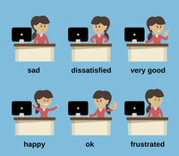 Businesswoman at office desk cartoon character working emotions set isolated vector illustration