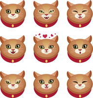 Cute cat face character emotions set decorative icons isolated vector illustration