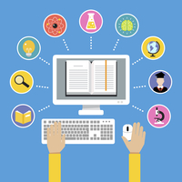 Online education e-learning science concept with human hand and computer book vector illustration 60016003722| 写真素材・ストックフォト・画像・イラスト素材|アマナイメージズ