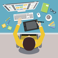 Designer work place with top view man sitting on table with monitor and drawing tools vector illustration