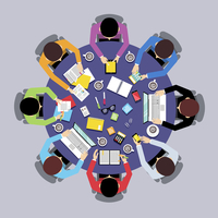Business team brainstorming teamwork concept top view group people on round table vector illustration 60016003730| 写真素材・ストックフォト・画像・イラスト素材|アマナイメージズ