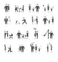 Family figures black icons set of men women dating wedding parenting isolated vector illustration