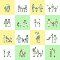 Family figures friends togetherness couple flat line icons set isolated vector illustration