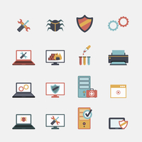 Computer mobile tablet repair virus removal and battery replacement services flat icons set abstract isolated vector illustratio