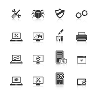 Computer repair and maintain internet security services black icons collection with antivirus shield abstract isolated vector il