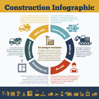 Building construction mason work team management presentation infographic circle chart with truck crane equipment symbols vector