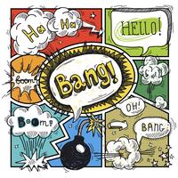 Comic speech humor funny cartoon bubble sketch design background vector illustration 60016003759| 写真素材・ストックフォト・画像・イラスト素材|アマナイメージズ