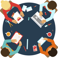 Business men team office meeting concept top view people on table vector illustration 60016003766| 写真素材・ストックフォト・画像・イラスト素材|アマナイメージズ