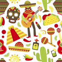 Mexico seamless pattern with travel traditional music latino america symbols vector illustration