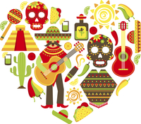 Mexico travel traditional symbols decorative icon set in heart shape vector illustration