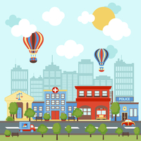 City street scape background with retro and modern buildings vector illustration.
