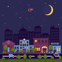 City street scape night background with buildings and stars and moon vector illustration