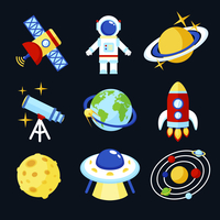 Space and astronomy icons set of earth rocket moon astronaut isolated vector illustration