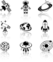 Space and astronomy black and white decorative icons set isolated vector illustration