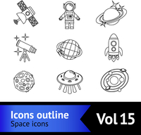 Space and astronomy outline decorative icons set with satellite astronaut saturn isolated vector illustration