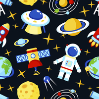Space and astronomy seamless pattern with satellite astronaut saturn telescope vector illustration