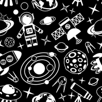 Space and astronomy black and white seamless pattern with decorative elements vector illustration