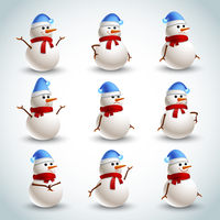 Winter christmas snowman emotions icons set isolated vector illustration
