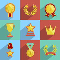 Award icons colored set of trophy medal winner prize champion cup isolated vector illustration
