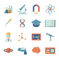 Science and research icon flat set with microscope tube atom isolated vector illustration 60016003840| 写真素材・ストックフォト・画像・イラスト素材|アマナイメージズ