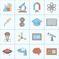 Science and research icon flat line set with beaker microscope magnet isolated vector illustration 60016003842| 写真素材・ストックフォト・画像・イラスト素材|アマナイメージズ