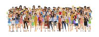 Large group crowd of different age women female professionals businesswomen vector illustration