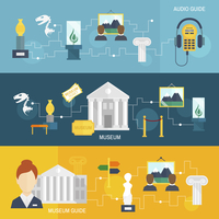 Museum audio guide icons horizontal banner set isolated vector illustration