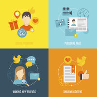 Social flat icons set with network personal page making new friends sharing content isolated vector illustration 60016003906| 写真素材・ストックフォト・画像・イラスト素材|アマナイメージズ