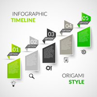 Abstract paper timeline infographics design template with origami style options and business icons vector illustration