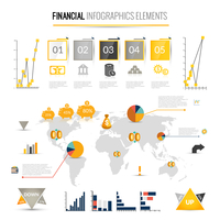 Money finance business infographic with financial icons and world map on background vector illustration